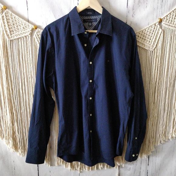 953b42dc Tommy Hilfiger Shirts | Navy Blue Button Down Shirt L | Poshmark